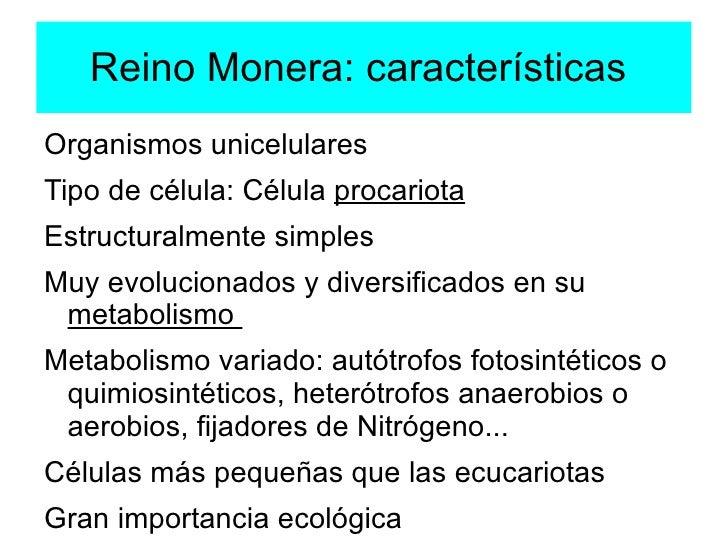 Reino Monera: características  <ul><li>Organismos unicelulares