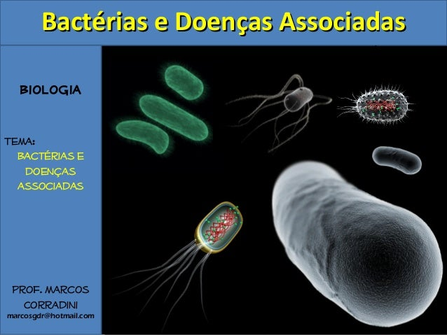 Biologia Tema: Bactérias e doenças associadas Prof. Marcos Corradini marcosgdr@hotmail.com Bactérias e Doenças AssociadasB...
