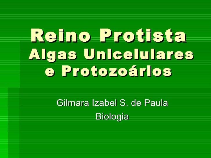 Reino Pr otistaAlgas Unicelulares  e Pr oto zoários   Gilmara Izabel S. de Paula            Biologia
