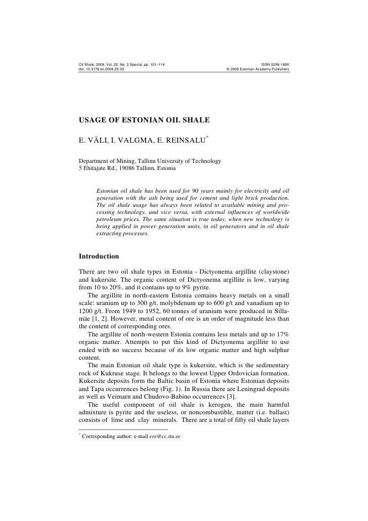 Oil Shale, 2008, Vol. 25, No. 2 Special, pp. 101–114                            ISSN 0208-189X doi: 10.3176/oil.2008.2S.02...