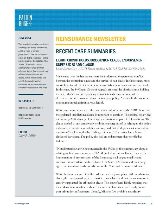 PattonBoggs.com Reinsurance Newsletter – June 2013 1JUNE 2013This newsletter may be consideredattorney advertising under c...