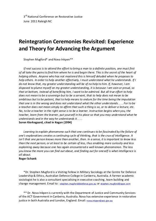 Reintegration ceremonies revisited (2)