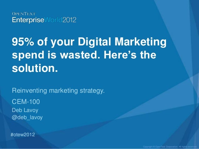 95% of your Digital Marketingspend is wasted. Here's thesolution.Reinventing marketing strategy.CEM-100Deb Lavoy@deb_lavoy...