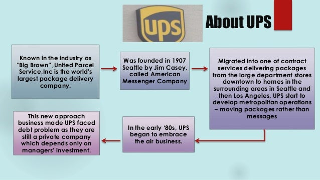 organization structure of united parcel service United parcel service organizational structure the united parcel service known also as the brown giant is the powerhouse in the air delivery, freight and parcel service industry.