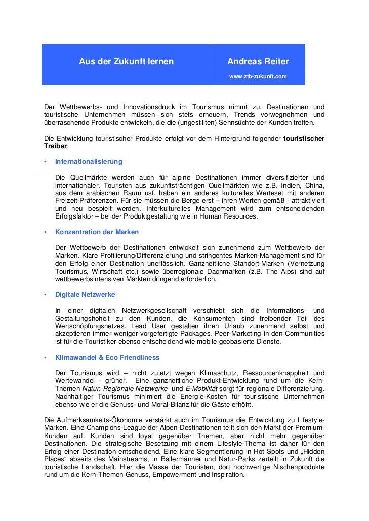 Andreas Reiter – Aus der Zukunft lernen – Abstract  zum Tag der Tourismuswirtschaft der Wirtschaftskammer  Salzburg-Sparte...