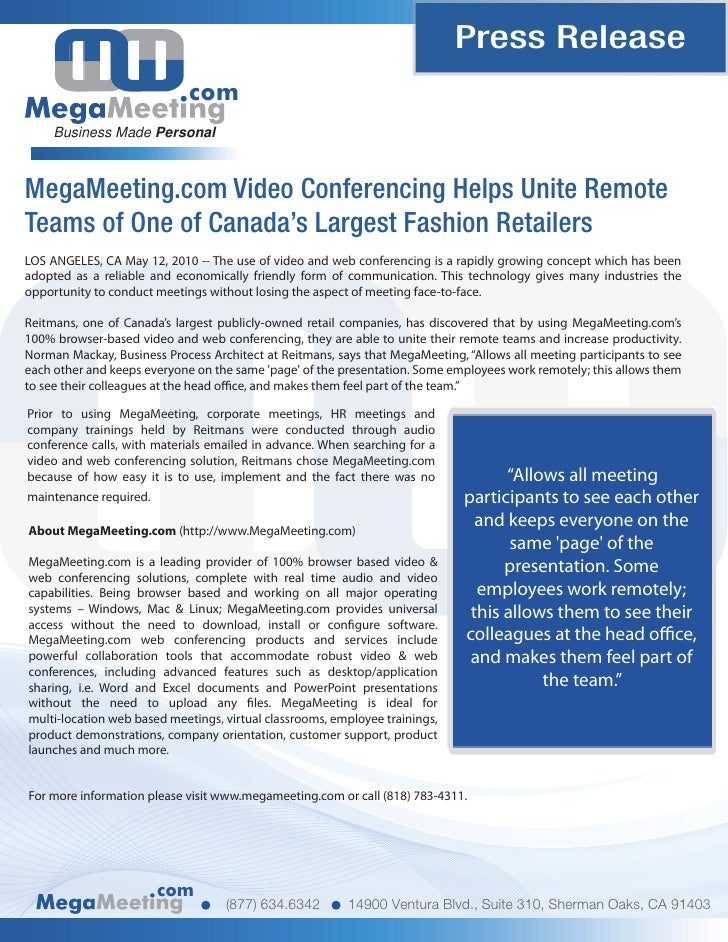 MegaMeeting.com Video Conferencing Helps Unite Remote Teams of One of Canada's Largest Fashion Retailers