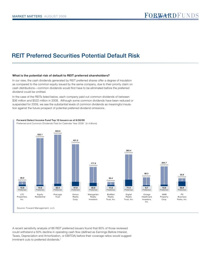 MARKET MATTERS AUGUST 2009     REIT Preferred Securities Potential Default Risk   What is the potential risk of default to...
