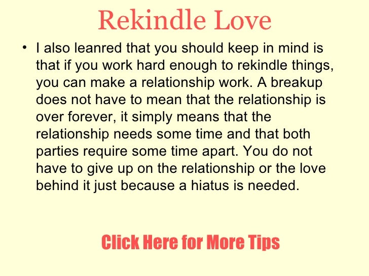 how to rekindle a relationship with your ex girlfriend