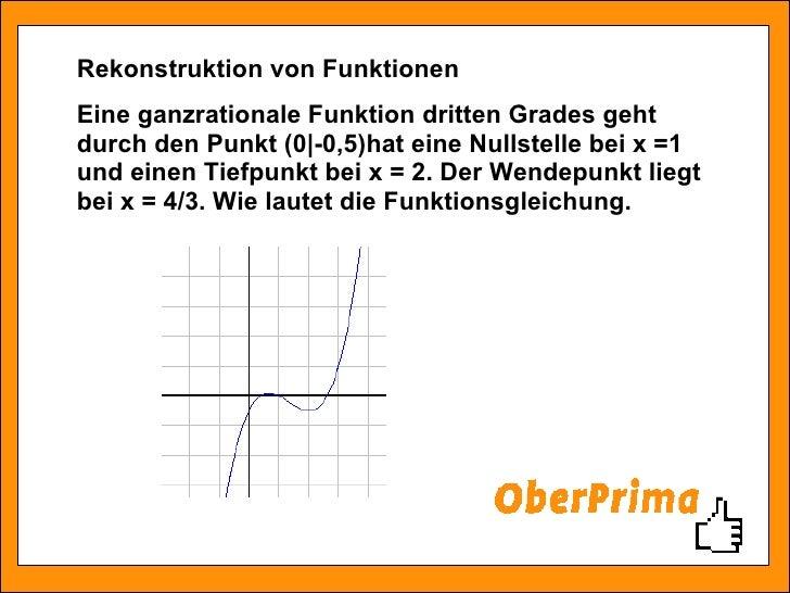 Eine ganzrationale Funktion dritten Grades geht durch den Punkt (0|-0,5)hat eine Nullstelle bei x =1 und einen Tiefpunkt b...