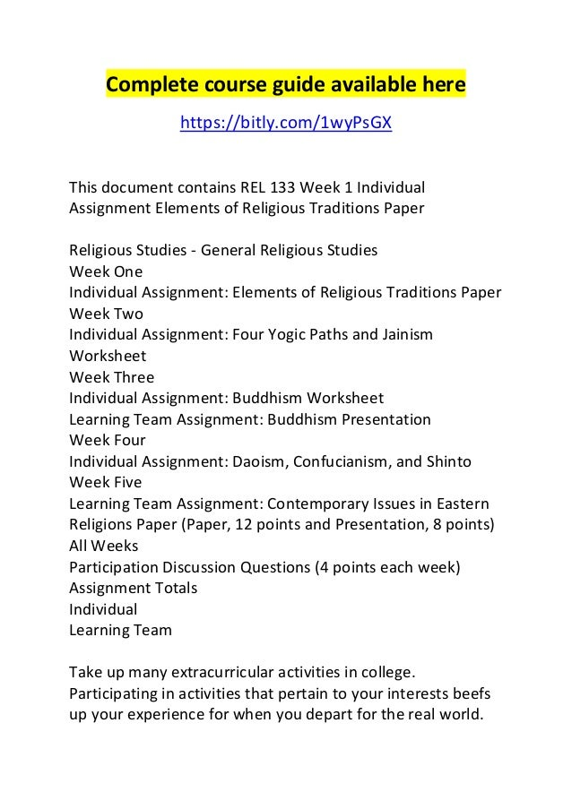 eastern religions rel 133 essay Rel 133 world religious traditions i similar essays rel 133 world religious rel 133 week 5 individual assignment common elements of eastern religious.