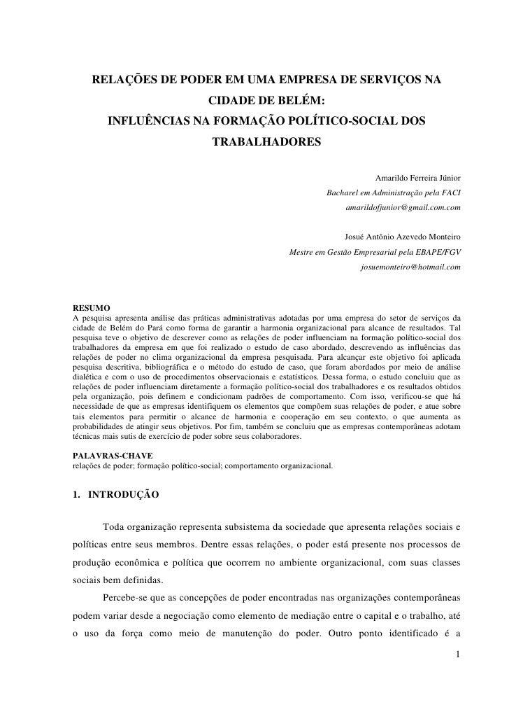 RELAÇÕES DE PODER EM UMA EMPRESA DE SERVIÇOS NA                                      CIDADE DE BELÉM:         INFLUÊNCIAS ...