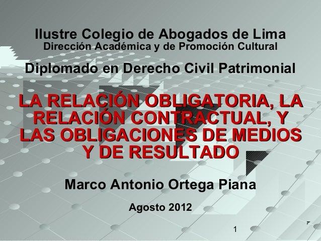 Ilustre Colegio de Abogados de Lima  Dirección Académica y de Promoción CulturalDiplomado en Derecho Civil PatrimonialLA R...