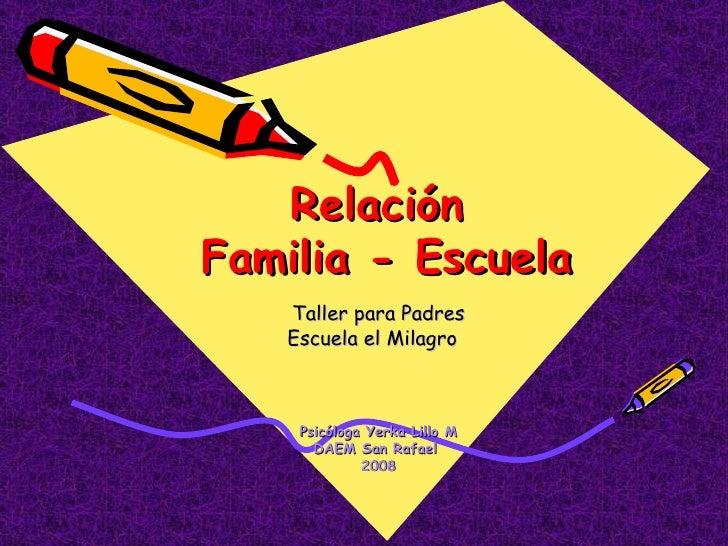 Taller para Padres Escuela el Milagro  Psicóloga Yerka Lillo M DAEM San Rafael  2008 Relación  Familia - Escuela