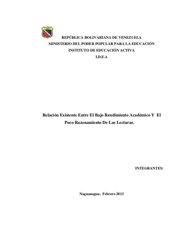 REPÚBLICA BOLIVARIANA DE VENEZUELA MINISTERIO DEL PODER POPULAR PARA LA EDUCACIÓN INSTITUTO DE EDUCACIÓN ACTIVA I.D.E.A Re...