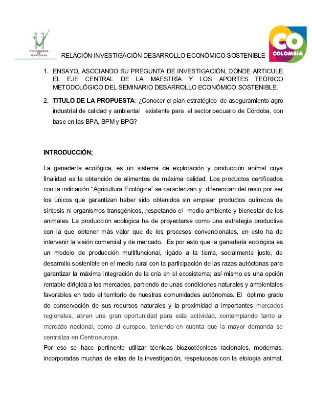 Relación investigación desarrollo económico sostenible