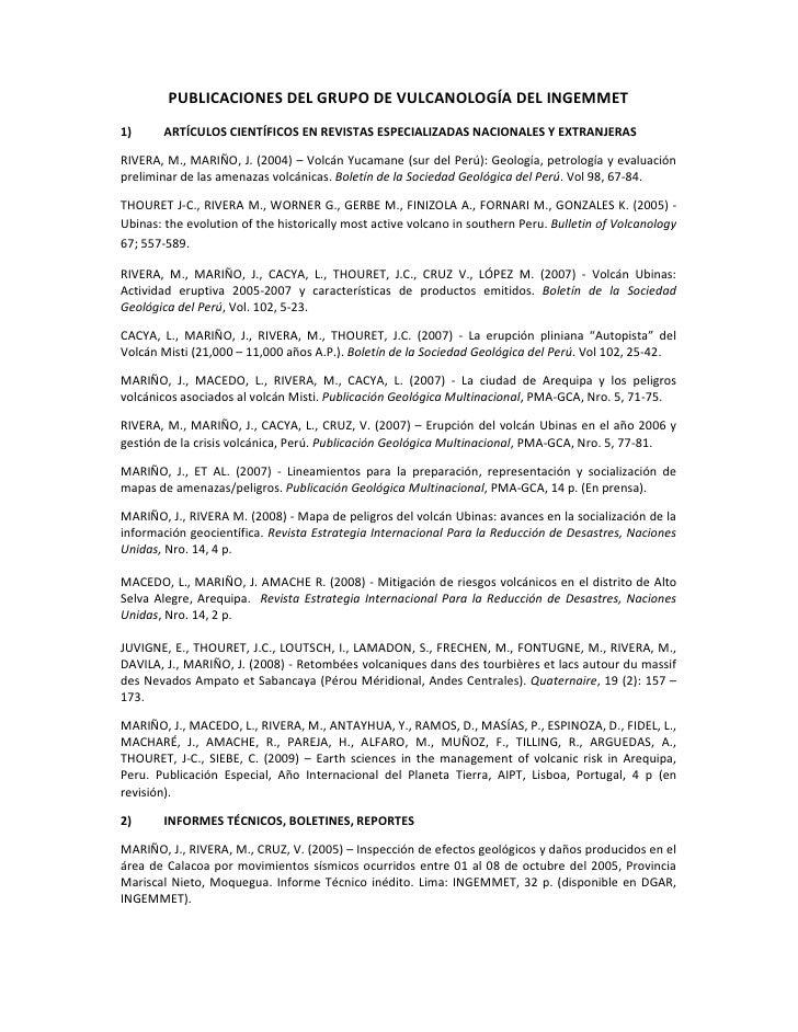 Relacion de publicaciones del grupo de vulcanologia del ingemmet