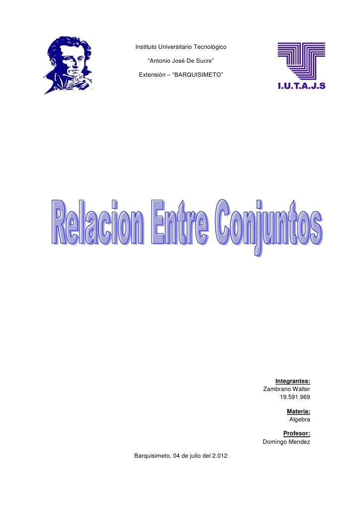 """Instituto Universitario Tecnológico     """"Antonio José De Sucre"""" Extensión – """"BARQUISIMETO""""                                ..."""
