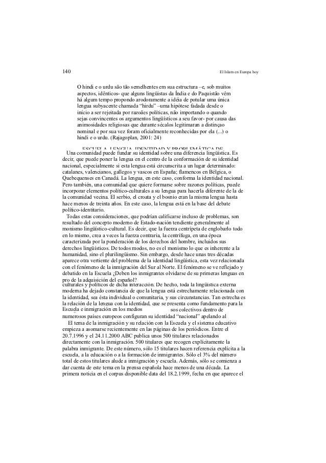 140                                                                   El Islam en Europa hoy      O hindi e o urdu são tão...