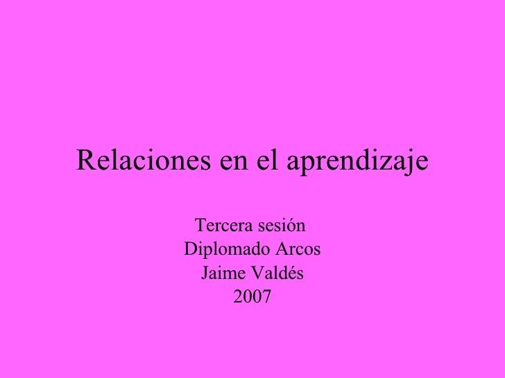 Relaciones en el aprendizaje Tercera sesión  Diplomado Arcos Jaime Valdés 2007