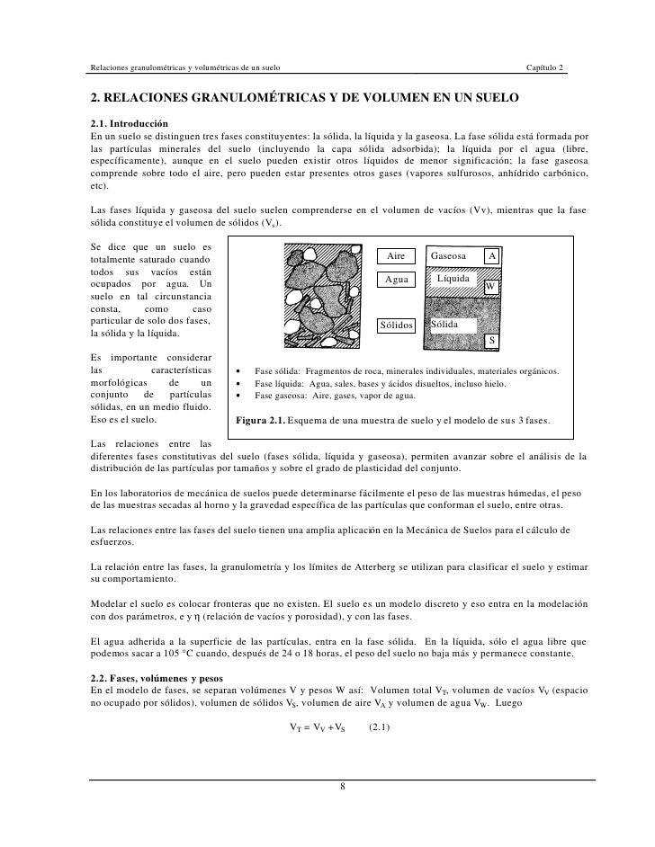 Relaciones granulométricas y volumétricas de un suelo                                                             Capítulo...