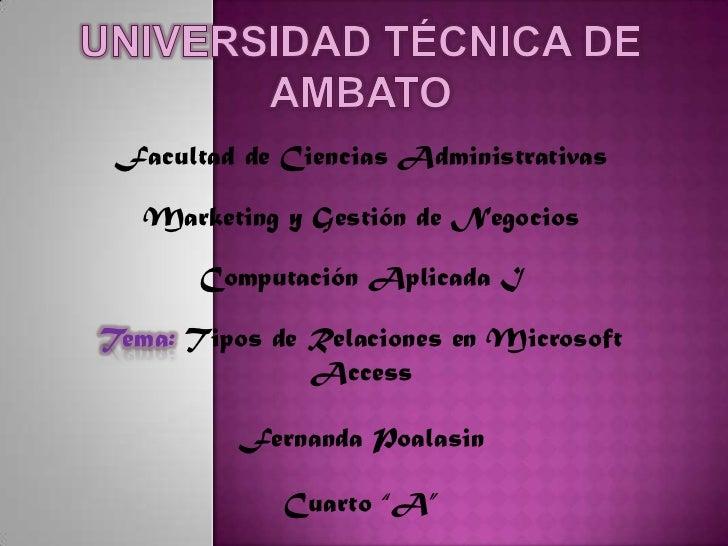 Universidad técnica de Ambato <br />Facultad de Ciencias Administrativas<br />Marketing y Gestión de Negocios<br />Computa...