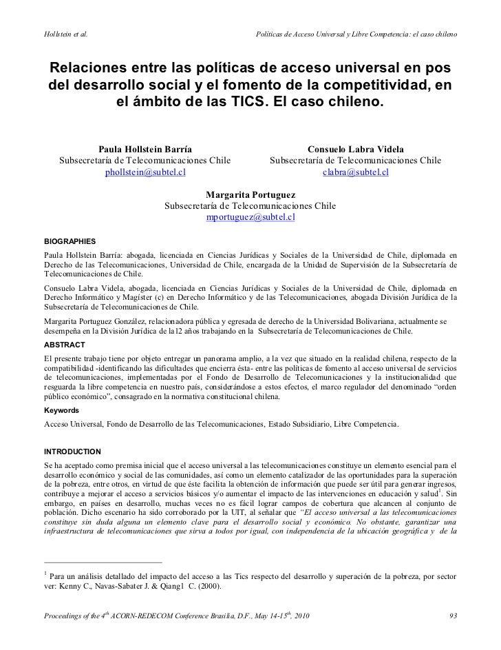 Hollstein et al.                                                  Políticas de Acceso Universal y Libre Competencia: el ca...