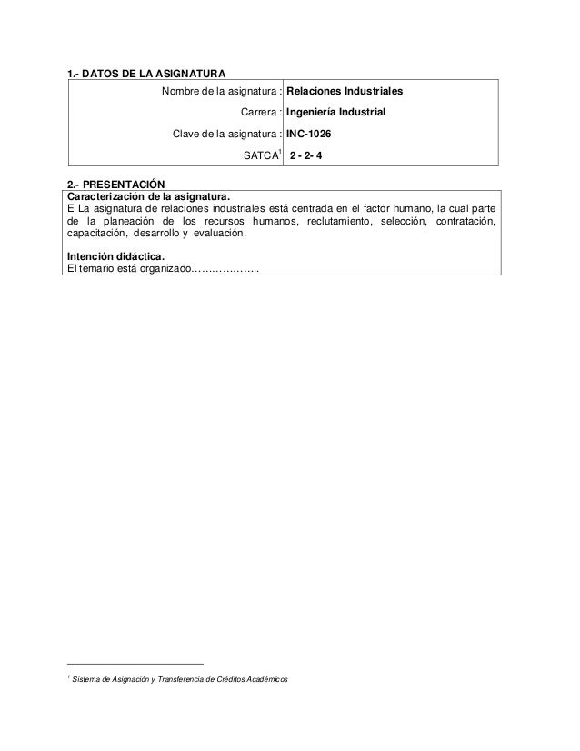 1.- DATOS DE LA ASIGNATURA Nombre de la asignatura : Relaciones Industriales Carrera : Ingeniería Industrial Clave de la a...