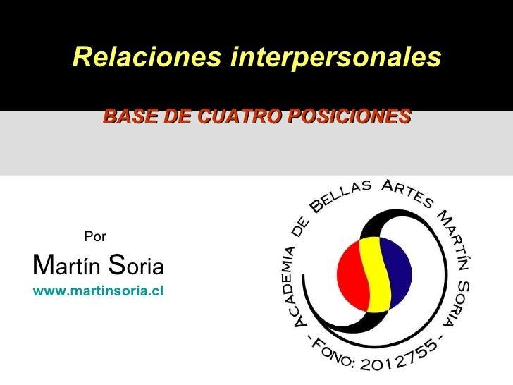 Por   M artín  S oria www.martinsoria.cl Relaciones interpersonales BASE DE CUATRO POSICIONES