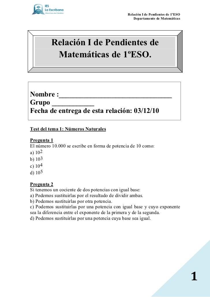 Relación I de Pendientes de 1ºESO                                                  Departamento de Matemáticas          Re...