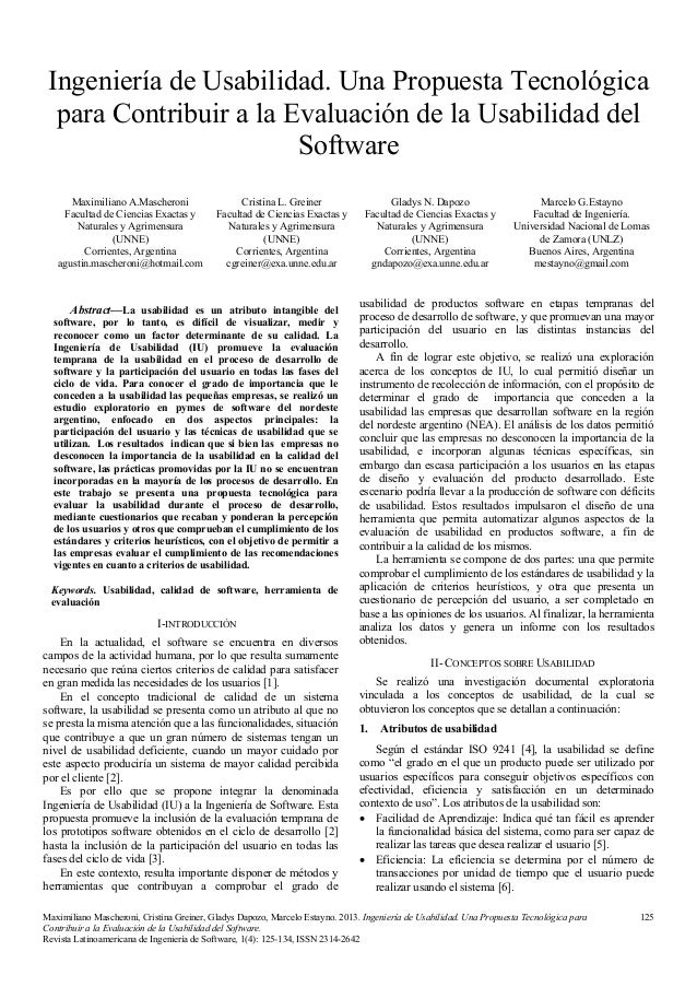Ingeniería de Usabilidad. Una Propuesta Tecnológica para Contribuir a la Evaluación de la Usabilidad del Software Maximili...