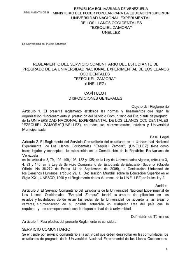 REPÚBLICA BOLIVARIANA DE VENEZUELA REP ÚBL VAR ENEZ UEL REGLAMENTO DE SERVICIO COMUNITARIO DE PODER POPULDE PREGRADO A EDU...