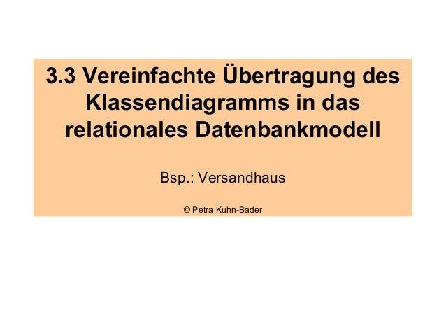 3.3 Vereinfachte Übertragung des    Klassendiagramms in das  relationales Datenbankmodell          Bsp.: Versandhaus      ...