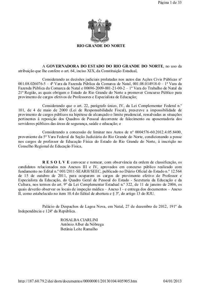 Página 1 de 33                                   RIO GRANDE DO NORTE               A GOVERNADORA DO ESTADO DO RIO GRAND...