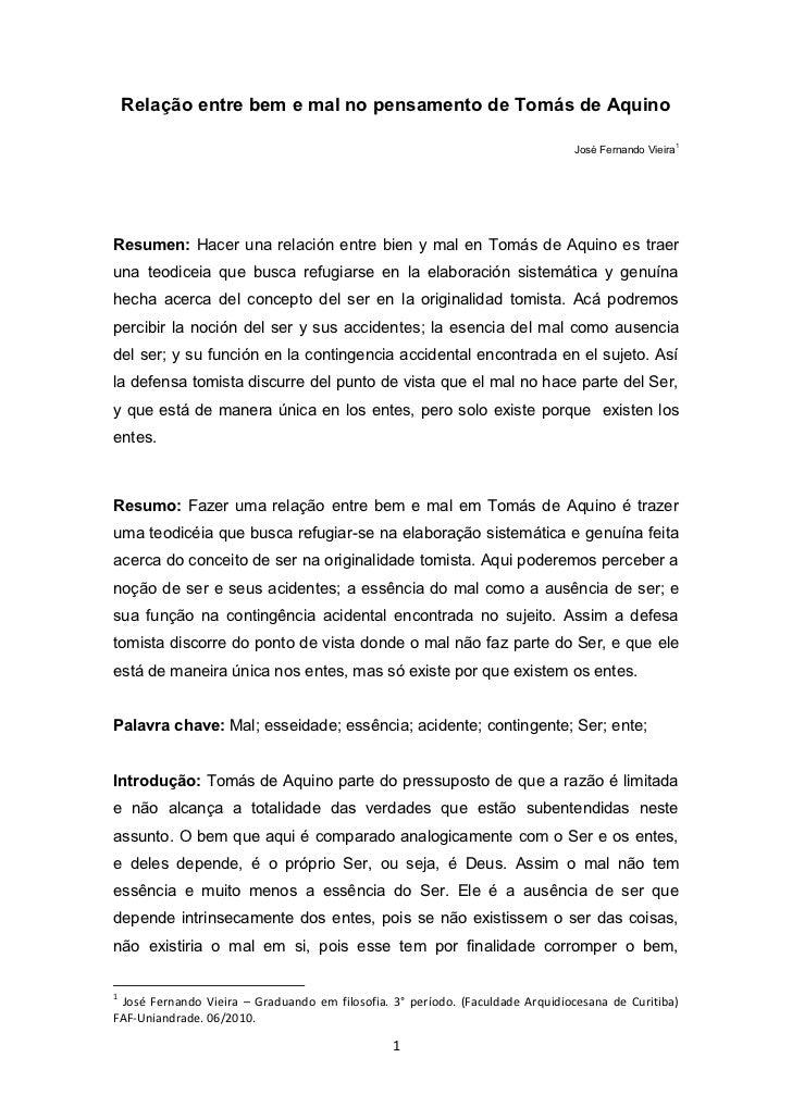 Relação entre bem e mal no pensamento de tomás de aquino pdf