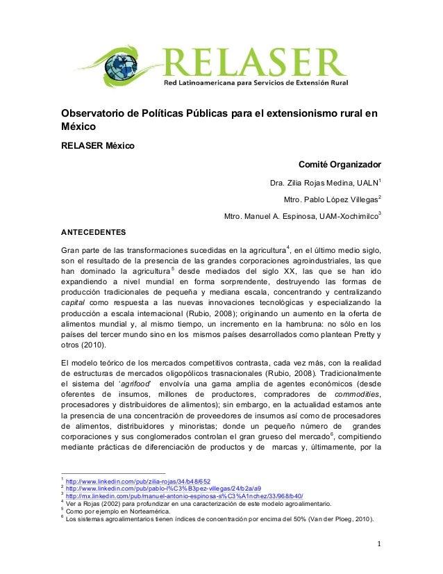 1   Observatorio de Políticas Públicas para el extensionismo rural en México RELASER México Comité Organizador Dr...