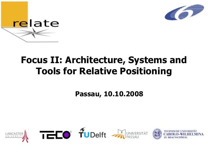 Focus II: Architecture, Systems and   Tools for Relative Positioning           Passau, 10.10.2008