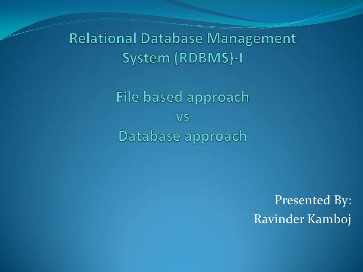 Relational database management system (rdbms) i