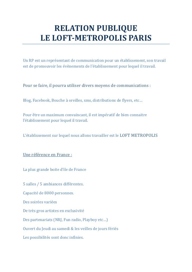 Relation publique LOFT METROPOLIS COMPLEX