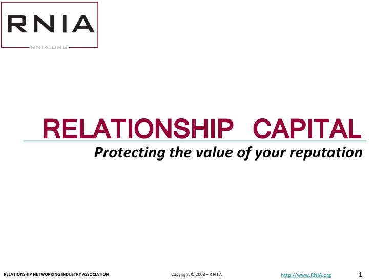 Relationship Capital: What is the value of your reputation?