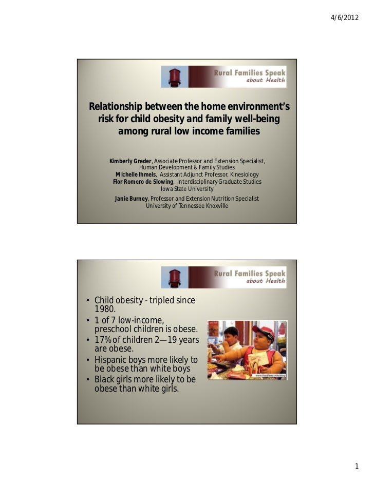 4/6/2012Relationship between the home environment's  risk for child obesity and family well-being        among rural low i...