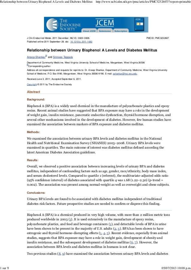 Relationship between Urinary Bisphenol A Levels and Diabetes Mellitus  1 sur 9  http://www.ncbi.nlm.nih.gov/pmc/articles/P...