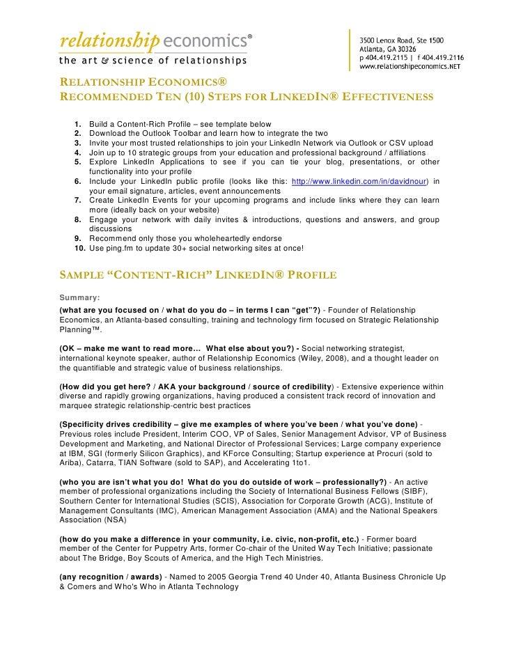 RELATIONSHIP ECONOMICS® RECOMMENDED TEN (10) STEPS FOR LINKEDIN® EFFECTIVENESS     1.    Build a Content-Rich Profile – se...