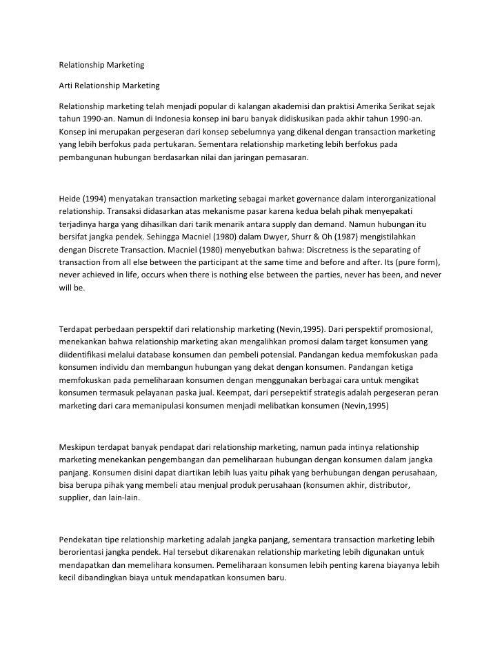 Relationship MarketingArti Relationship MarketingRelationship marketing telah menjadi popular di kalangan akademisi dan pr...