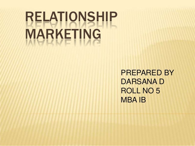 1 to relationship marketing meaning
