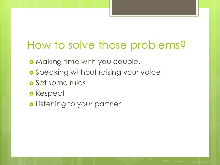 How to solve relationship problems
