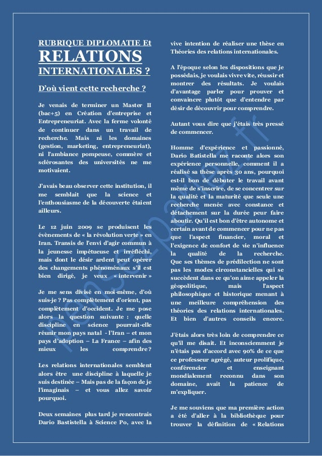 RUBRIQUE DIPLOMATIE Et RELATIONS INTERNATIONALES ? D'où vient cette recherche ? Je venais de terminer un Master II (bac+5)...