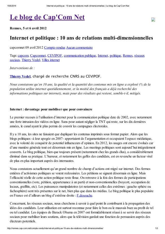 """""""Internet et politique : 10 ans de relations multi-dimensionnelles"""""""