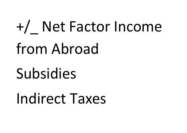 +/_ Net Factor Incomefrom AbroadSubsidiesIndirect Taxes