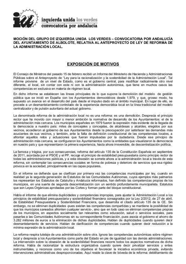 MOCIÓN DEL GRUPO DE IZQUIERDA UNIDA LOS VERDES – CONVOCATORIA POR ANDALUCÍADEL AYUNTAMIENTO DE ALBOLOTE, RELATIVA AL ANTEP...