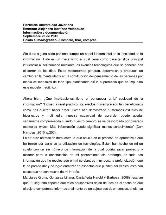 Pontificia Universidad Javeriana Emerson Alejandro Martínez Velásquez Información y documentación Septiembre 23 de 2013 Re...